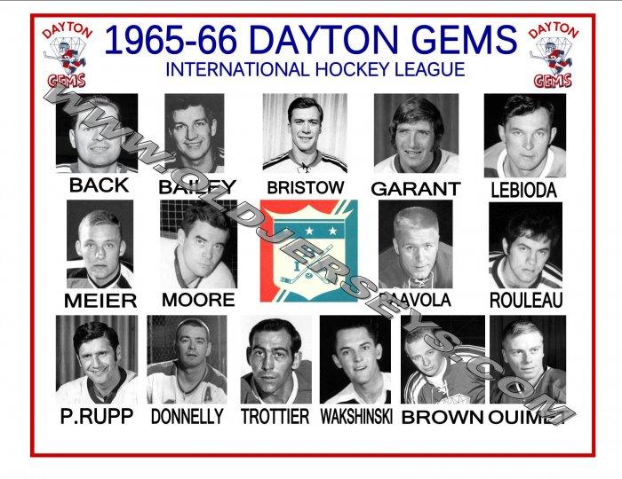1965-66 DAYTON GEMS IHL HEADSHOTS TEAM PHOTO
