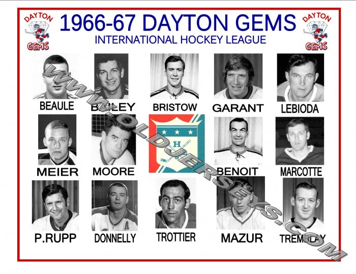 1966-67 DAYTON GEMS IHL HEADSHOTS TEAM PHOTO