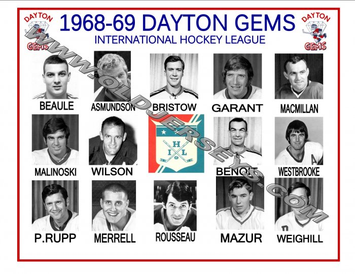 1968-69 DAYTON GEMS IHL HEADSHOTS TEAM PHOTO