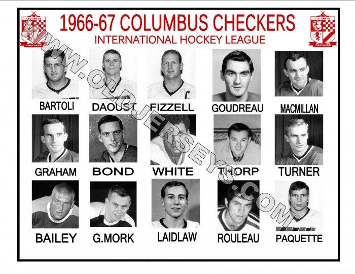 1966-67 COLUMBUS CHECKERS  IHL HEADSHOTS TEAM PHOTO