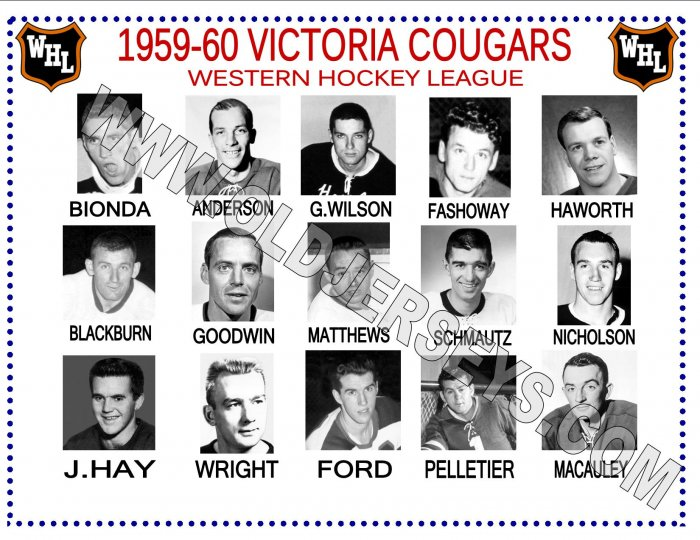 1959-60 VICTORIA COUGARS WHL HEADSHOTS TEAM PHOTO