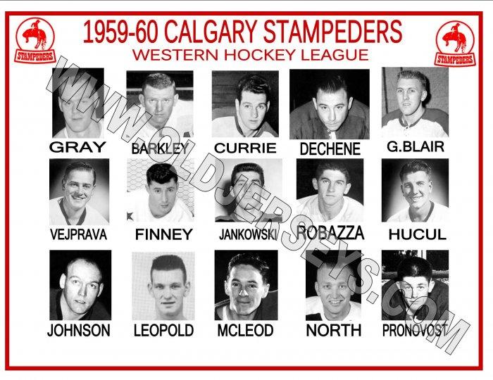 1959-60 CALGARY STAMPEDERS WHL HEADSHOTS TEAM PHOTO