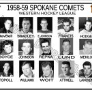 1958-59 SPOKANE COMETS WHL HEADSHOTS TEAM PHOTO