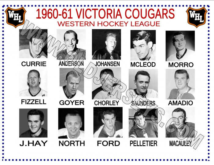 1960-61 VICTORIA COUGARS WHL HEADSHOTS TEAM PHOTO