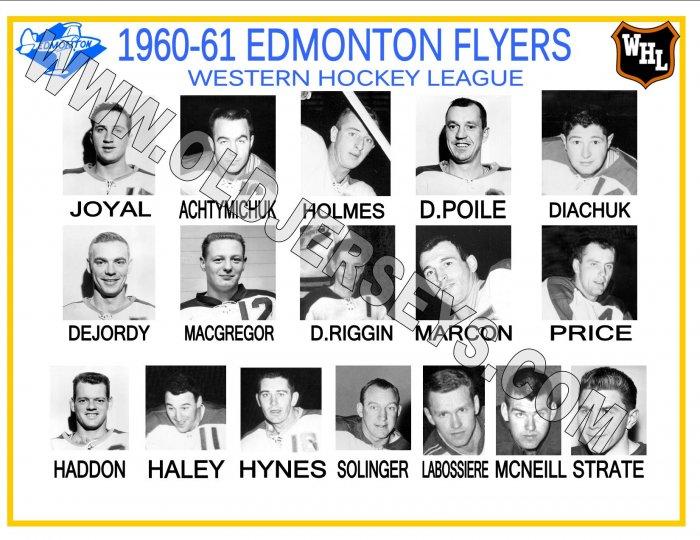 1960-61 EDMONTON FLYERS WHL HEADSHOTS TEAM PHOTO