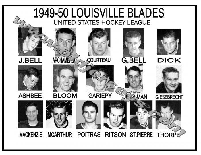 1949-50 LOUISVILLE BLADES USHL HEADSHOTS TEAM PHOTO