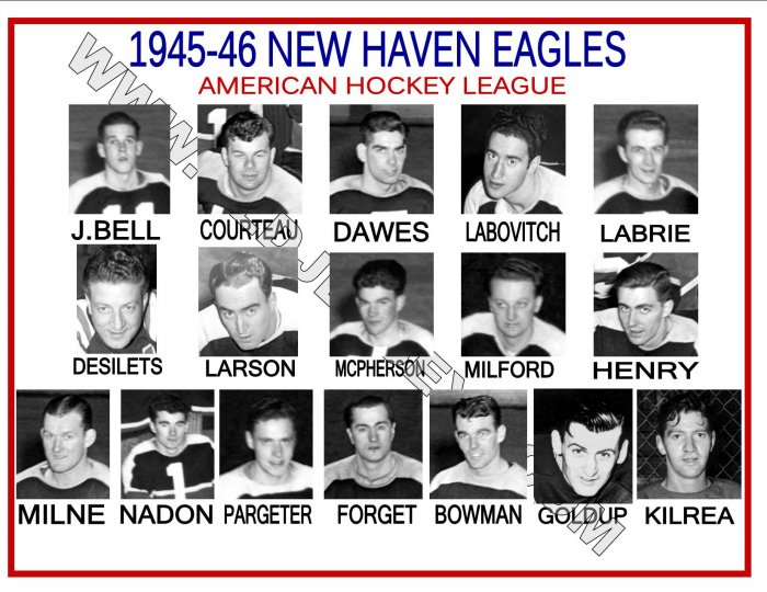 1945-46 NEW HAVEN EAGLES AHL HEADSHOTS TEAM PHOTO
