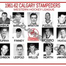 1961-62 CALGARY STAMPEDERS WHL HEADSHOTS TEAM PHOTO