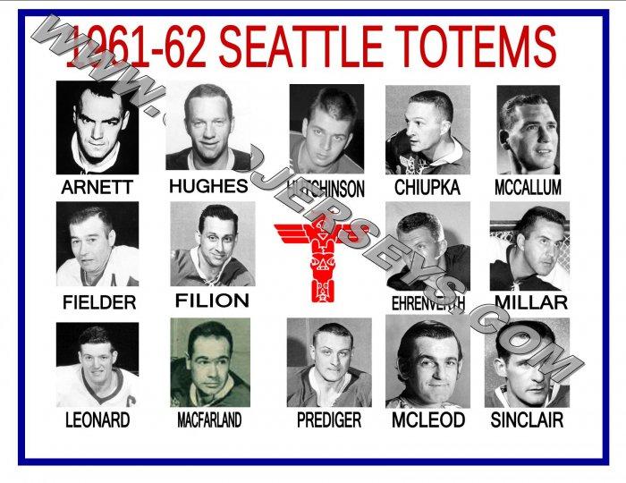 1961-62 SEATTLE TOTEMS WHL HEADSHOTS TEAM PHOTO