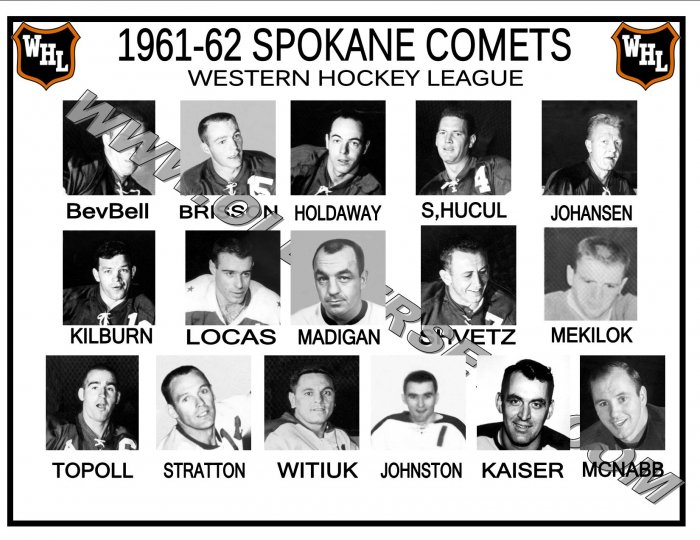 1961-62 SPOKANE COMETS WHL HEADSHOTS TEAM PHOTO