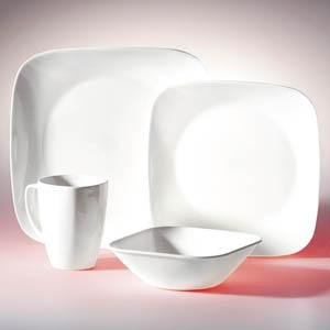 Corelle Square 16-Pc Set, Service for 4 (Pure White)