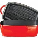 4.5L rec roaster / grill pan lid - RED with black enamel interior body/lid