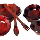 SEVEN PIECE MAHOGANY BOWL SET