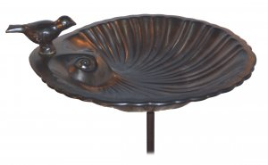 Ceramic Shell Bird Bath / Bronze