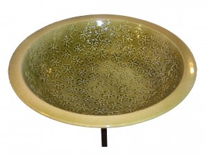 Ceramic Vinca Bird Bath / Moss