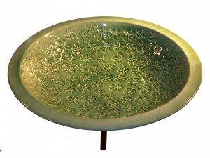 Ceramic Vinca Bird Bath / Aqua