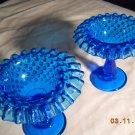 Fenton Blue Hobnail Compotes (2)