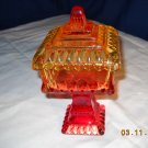 Amber & Red Candy Dish on Pedestal