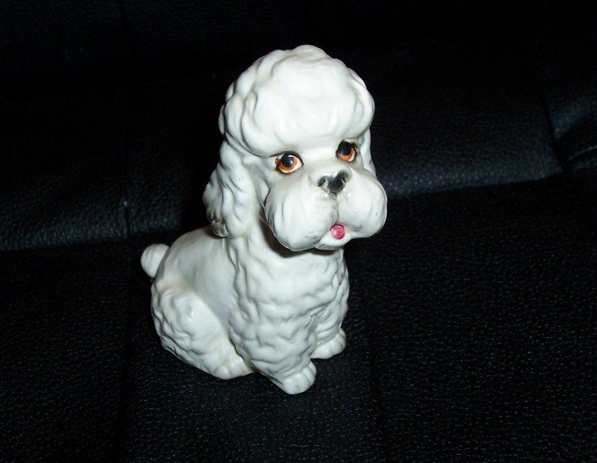Lefton Vintage White Poodle Dog FigurineW/Orig.Sticker