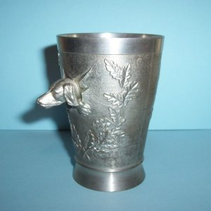Handarbeit Pewter Fox Hound Dog Head Goblet / Glass