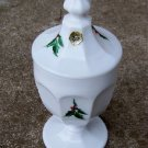 Westmoreland Holly & Berry Milk Glass Candy Jar w /Orig Sticker