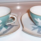 Jyoto China Japan Modernist Blues Tea Cups & Saucers (2) Vintage 1960's