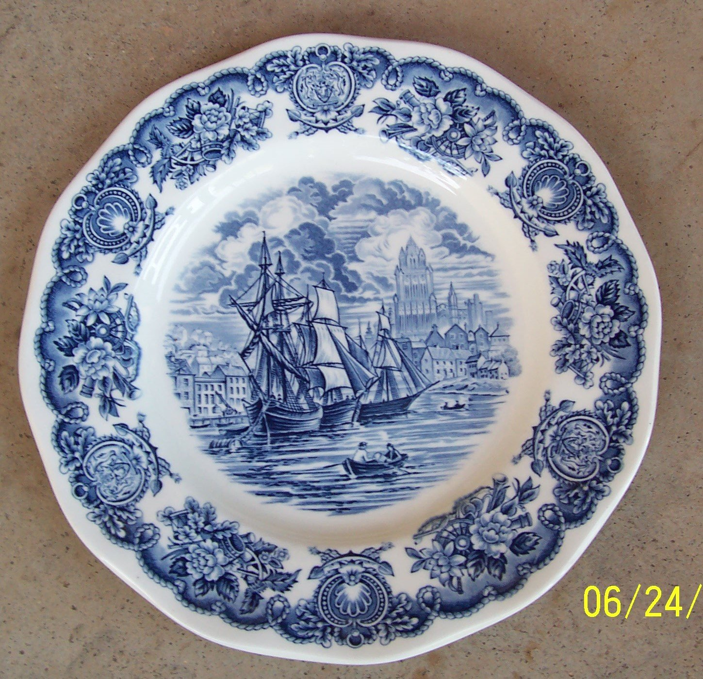 "Blue & White Ship Historical Ports of England / Port Of Bristol 10"" Donner Plate"