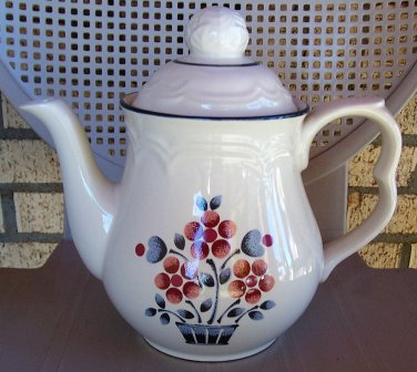 Hearthside Cumberland Brambleberry Teapot 7 Cup Floral Stoneware Japan