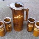 Vtg Van Briggle Art Pottery 11 1/2 Pitcher & 4 Tumblers signed Anna Van Briggle