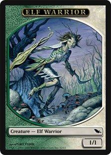 Magic MTG Promo Token Green/White Elf Warrior Shadowmoor