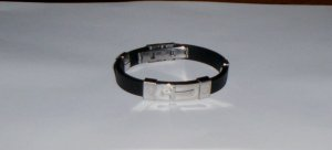Unisex Black Rubber Bracelet Stainless Steel w/Silver Cross NEW!