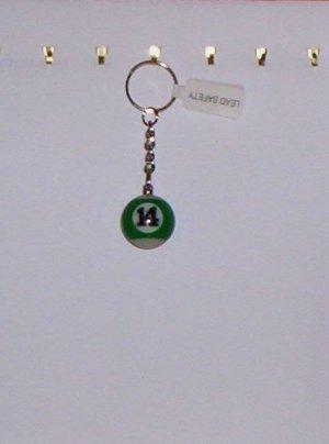 Pool Ball Key Ring Billiard #14 Green Stripes Key Chain New!