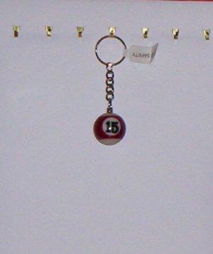 Pool Ball Key Ring Billiard #15 Red Stripes Key Chain New!