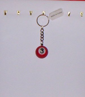 Pool Ball Key Ring Billiard #3 Orange Solid Key Chain New!
