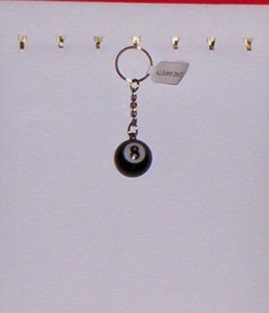 Pool Ball Key Ring Billiard #8 Black 8-Ball Key Chain New!