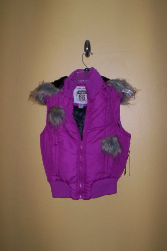 Route 66 Quilted Vest Pink Juniors Women Size XL Removable Hood New!