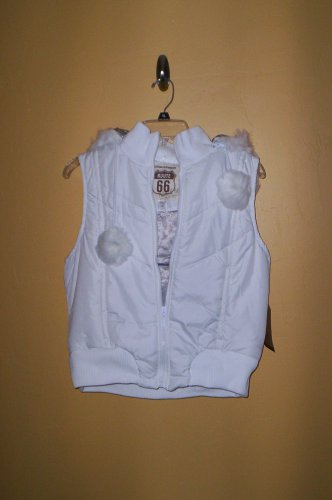 Route 66 Quilted Vest White Juniors Women Size L Removable Hood New!