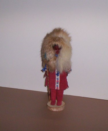 """9"""" Eskimo Doll Figure w/Spear Leather Clothes Birch Stand Vintage?"""