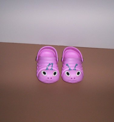 Pink Crock Style Girls Shoes Size 22 Ladybug Pre-Owned!