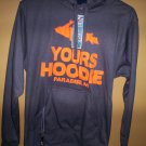 U.P. Yours Hoodie w/Koozie & Bottle Opener Gray Orange Pullover Jacket Size M