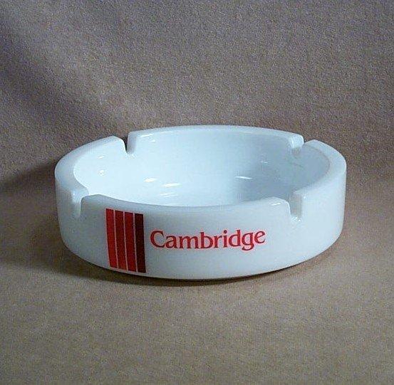 Cambridge Cigarette Advertising Ashtray white with logo 5 5/8 inch round