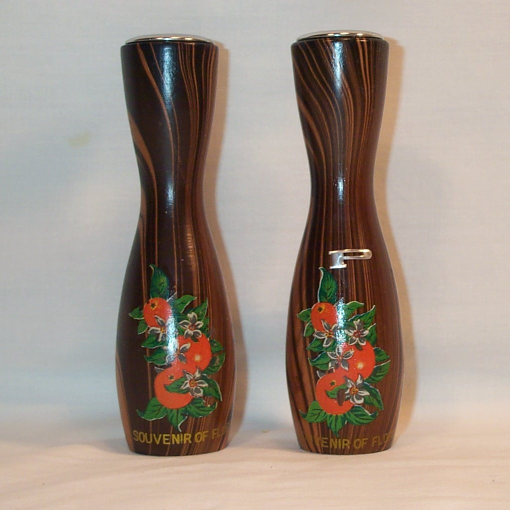 Vintage Mid Century Wooden Salt & Pepper Shakers Souvenir of Florida