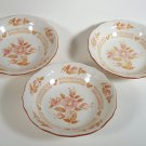 Sears Wicker Rose Ironstone Cereal Bowls Set of 3 Made in Japan Slightly Faded