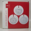 Mikasa Holiday Classics Crystal Ornaments, Set of 3 Bells Poinsettia Candle Gold Ribbons
