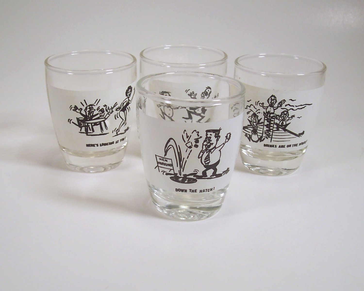 Set of 4 Vintage Cartoon Shot Glasses Mid Century Modern Humor