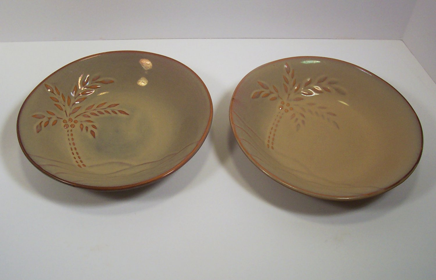 Tabletops Unlimited South Beach Pair of Soup Salad Pasta Bowls Oval with Palm Tree Gallery
