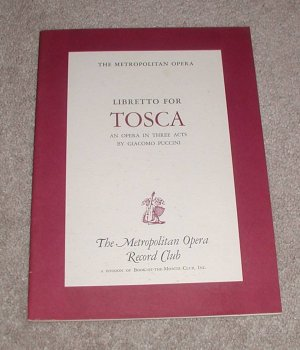 Libretto for Tosca by Puccini, Giacomo