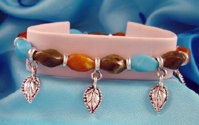 Turquoise Orange Brown Stones & Leaf Charm Bracelet Leaves