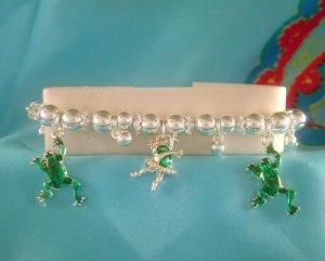 FROG Dancing Frogs Charm Bracelet Silvertone & Green