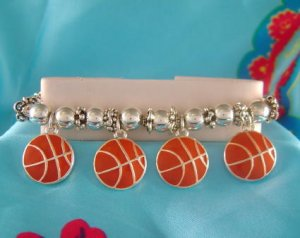 Basketball Sports Theme Stretchy Charm Bracelet - Basketball Moms